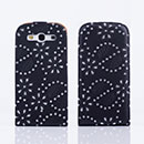 Custodia in Pelle Samsung i9300 Galaxy S3 Bling Cover Bumper - Nero