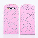 Custodia in Pelle Samsung i9300 Galaxy S3 Bling Cover Bumper - Rosa