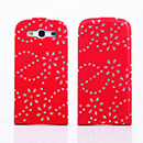 Custodia in Pelle Samsung i9300 Galaxy S3 Bling Cover Bumper - Rosso