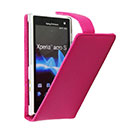 Custodia in Pelle Sony Xperia Acro S LT26w Case Cover - Fucsia