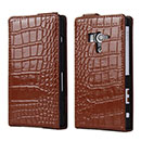 Custodia in Pelle Sony Xperia Acro S LT26w Coccodrillo Cover - Brown