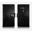 Custodia in Pelle Sony Xperia SP M35H Coccodrillo Cover - Nero