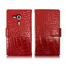 Custodia in Pelle Sony Xperia SP M35H Coccodrillo Cover - Rosso