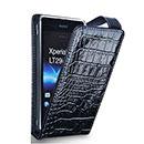 Custodia in Pelle Sony Xperia TX LT29i Coccodrillo Bumper Cover - Nero