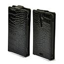 Custodia in Pelle Sony Xperia TX LT29i Coccodrillo Cover - Nero