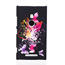 Custodia Nokia Lumia 925 Farfalla Plastica Cover Rigida - Rosa