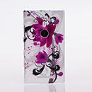 Custodia Nokia Lumia 925 Fiori Plastica Cover Rigida - Porpora
