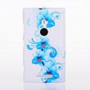Custodia Nokia Lumia 925 Fiori Silicone Gel Case - Blu