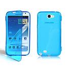 Custodia Samsung Galaxy Note 2 N7100 Flip Silicone Bumper - Blu