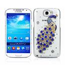 Custodia Samsung Galaxy Note 2 N7100 Pavone Diamante Bling Cover Rigida - Blu