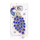 Custodia Samsung Galaxy S2 Plus i9105 Pavone Diamante Bling Cover - Blu