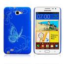 Custodia Samsung i9220 Galaxy Note Farfalla Plastica Cover Rigida - Blu