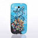 Custodia Samsung i9300 Galaxy S3 Farfalla Plastica Cover Rigida - Blu