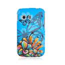 Custodia Samsung S5360 Galaxy Y Farfalla Silicone Gel Case - Blu