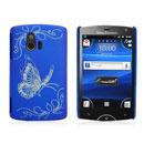 Custodia Sony Ericsson Xperia Mini ST15i Farfalla Plastica Cover Rigida - Blu