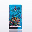 Custodia Sony Xperia P LT22i Farfalla Plastica Cover Rigida - Blu