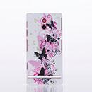 Custodia Sony Xperia P LT22i Farfalla Plastica Cover Rigida - Rosa