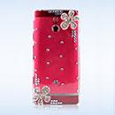 Custodia Sony Xperia P LT22i Lusso Fiori Diamante Bling Cover Rigida - Clear