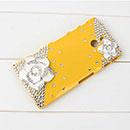 Custodia Sony Xperia P LT22i Lusso Fiori Diamante Bling Cover Rigida - Giallo