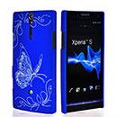 Custodia Sony Xperia S LT26i Farfalla Plastica Cover Rigida - Blu