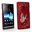 Custodia Sony Xperia S LT26i Farfalla Plastica Cover Rigida - Rosso