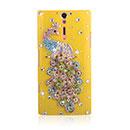 Custodia Sony Xperia S LT26i Pavone Diamante Bling Cover Rigida - Giallo