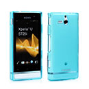 Custodia Sony Xperia U ST25i Silicone Trasparente Case - Luce Blu