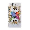 Custodia Sony Xperia Z L36H Farfalla Plastica Cover Rigida - Bianco
